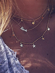cheap -Women's Chain Necklace Layered Necklace Layered Star Love Ladies Bohemian Punk Lolita Fashion Alloy Gold 40 cm Necklace Jewelry 1pc For Party / Evening Gift