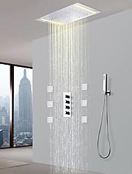 cheap -Shower Faucet - Contemporary Chrome Ceramic Valve Bath Shower Mixer Taps / Brass / Four Handles Five Holes
