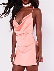 cheap -Women's Backless Party Going out Club Street chic Mini Bodycon Dress - Solid Colored Backless Split Halter Neck Spring Pink M L XL / Sexy / Skinny