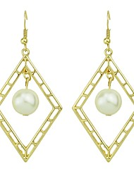 cheap -Women's Pearl Drop Earrings Hollow Out Ladies Basic Fashion Pearl Earrings Jewelry Gold For Daily Date 1 Pair
