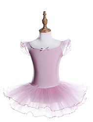 cheap -Ballet Dresses Girls' Training / Performance Polyester / Spandex Sashes / Ribbons / Cascading Ruffles / Gore Short Sleeve Dress