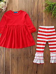 cheap -Kids Toddler Girls' Active Basic Daily Sports Striped Solid Colored Christmas Ruffle Pleated Long Sleeve Long Cotton Clothing Set Red