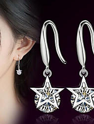 cheap -Women's AAA Cubic Zirconia Drop Earrings 3D Star Ladies Stylish Classic Earrings Jewelry Silver For Daily 1 Pair