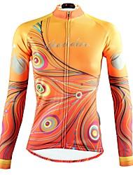abordables -ILPALADINO Femme Manches Longues Maillot Velo Cyclisme Jaune Floral Botanique Cyclisme Hauts / Top VTT Vélo tout terrain Vélo Route Respirable Séchage rapide Résistant aux ultraviolets Des sports