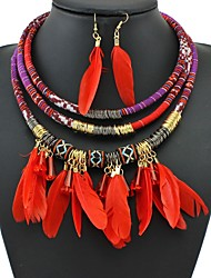 cheap -Women's Drop Earrings Necklace Braided Ladies Vintage African Feather Earrings Jewelry Black / Red / Blue For Going out Festival 1 set
