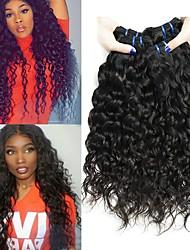 cheap -4 Bundles Brazilian Hair Water Wave Human Hair Unprocessed Human Hair Headpiece Natural Color Hair Weaves / Hair Bulk Hair Care 8-28 inch Natural Color Human Hair Weaves Silky Extention Fashion Human