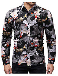 cheap -Men's Daily Business Shirt - Floral Black / Long Sleeve