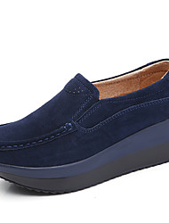 cheap -Women's Loafers & Slip-Ons Creepers Round Toe Casual Daily Cowhide Solid Colored Almond Black Red