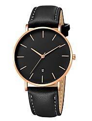 cheap -Men's Dress Watch Wrist Watch Quartz Leather Black / Brown Chronograph Casual Watch Analog Classic Casual Minimalist - Rose Gold / White Gold / Red Black / Rose Gold One Year Battery Life