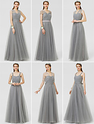cheap -A-Line / Ball Gown V Neck Floor Length Tulle Bridesmaid Dress with Bow(s) / Sash / Ribbon / Ruched / Convertible Dress