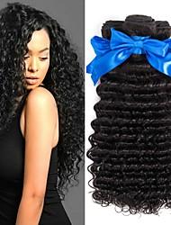 cheap -4 Bundles Deep Wave Human Hair Unprocessed Human Hair Natural Color Hair Weaves / Hair Bulk Hair Care Extension 8-28 inch Natural Color Human Hair Weaves Smooth Lovely Fashion Human Hair Extensions