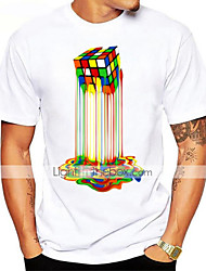 cheap -Men's Daily Sports Basic Cotton T-shirt - Graphic Rubik's Cube, Print Round Neck Rainbow / Short Sleeve