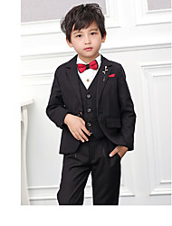 cheap -Black / Burgundy POLY / Cotton Blend Ring Bearer Suit - 3 Pieces Includes  Jacket / Vest / Pants
