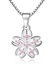 cheap -Women's Pendant Necklace Classic Flower Ladies Elegant Rhinestone Alloy Silver 45 cm Necklace Jewelry 1pc For Gift Festival