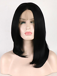 cheap -Synthetic Lace Front Wig Straight Natural Straight Short Bob Side Part Lace Front Wig Short Black#1B Synthetic Hair 16 inch Women's Adjustable Heat Resistant Synthetic Black