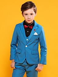 cheap -Sky Blue / Dark Navy POLY / Vicose / Cotton Ring Bearer Suit - 3 Pieces Includes  Jacket / Vest / Pants
