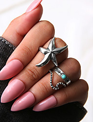 cheap -Women's Ring Set Multi Finger Ring Midi Rings Turquoise 3pcs Silver Resin Alloy Ladies Unique Design Vintage Gift Daily Jewelry Retro Starfish Arrow Cool