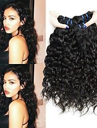 cheap -3 Bundles Water Wave Human Hair Unprocessed Human Hair Wig Accessories Headpiece Natural Color Hair Weaves / Hair Bulk 8-28 inch Natural Color Human Hair Weaves Cosplay Hot Sale Fashion Human Hair