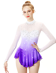 cheap -21Grams Figure Skating Dress Women's Girls' Ice Skating Dress Yan pink Golden yellow Violet Halo Dyeing Spandex Stretch Yarn Lace High Elasticity Professional Competition Skating Wear Handmade Fashion