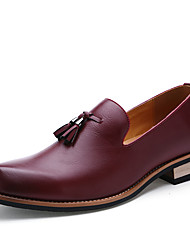 cheap -Men's Spring & Summer / Fall & Winter Preppy Daily Outdoor Loafers & Slip-Ons Walking Shoes Leather Waterproof Non-slipping Black / Burgundy / Brown