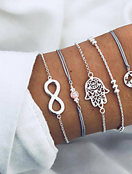 cheap -5pcs Women's Chain Bracelet Pendant Bracelet Layered Beads Maps Alphabet Shape Infinity Ladies Korean Fashion Boho Cord Bracelet Jewelry Silver For Birthday Daily Going out Bar / Resin