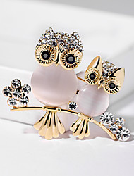 cheap -Women's Brooches Classic Owl Ladies European Rhinestone Gold Plated Brooch Jewelry Gold For Street