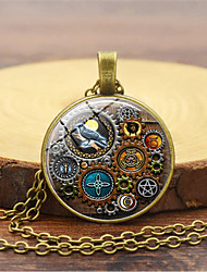 cheap -Women's Charm Necklace Vintage Style Bird Gear Ladies Vintage Trendy Steampunk Glass Alloy Gold Black Silver 45+5 cm Necklace Jewelry 1pc For Night out&Special occasion Masquerade