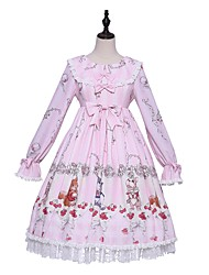 cheap -Sweet Lolita Princess Lolita Country Lolita Dress Female Japanese Cosplay Costumes Light Pink Pattern Bishop Sleeve Long Sleeve Knee Length