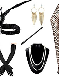 cheap -The Great Gatsby Charleston Vintage 1920s Costume Accessory Sets Flapper Headband Women's Feather Costume Head Jewelry Pearl Necklace Golden / Black+Golden / Golden+Black Vintage Cosplay Sleeveless