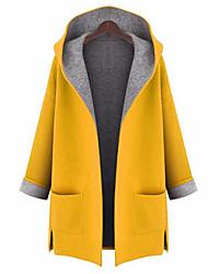 abordables -Femme Sortie Chic de Rue Automne Grandes Tailles Longue Manteau, Couleur Pleine Capuche Manches Longues Polyester Jaune / Rouge