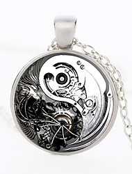 cheap -Men's Pendant Necklace Vintage Style Gear yin yang Stylish Vintage Steampunk Army Alloy Bronze Black Gold Silver 50 cm Necklace Jewelry 1pc For Street Gift Cosplay Costumes