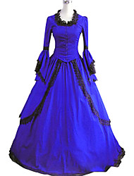 cheap -Gothic Victorian Medieval 18th Century Dress Party Costume Masquerade Women's Cotton Costume Blue Vintage Cosplay Party Prom Long Sleeve Floor Length Ball Gown Plus Size Customized