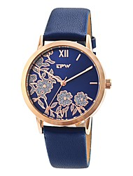 cheap -Women's Dress Watch Japanese Japanese Quartz Quilted PU Leather Beige / Ivory / Ocean Blue 30 m Creative Casual Watch Analog Ladies Flower Casual - Beige Blue Ivory Two Years Battery Life