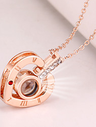 cheap -Women's Charm Necklace Hollow Out Heart Letter Ladies Korean Fashion Cute Rhinestone Alloy Gold Silver 42+5 cm Necklace Jewelry 1pc For Going out Work
