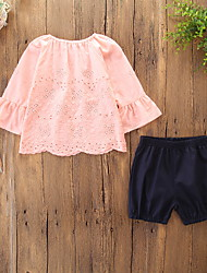 cheap -Kids Toddler Girls' Active Basic Daily Holiday Print Ruffle Embroidered 3/4 Length Sleeve Regular Cotton Clothing Set Blushing Pink