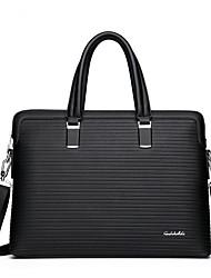 cheap -Men's Zipper PU Briefcase Solid Color Black / Blue / Fall & Winter