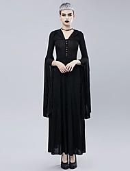 abordables -Cosplay Gothique Costume de Soirée Costume Femme Velours Costume Noir Vintage Cosplay Retour Pantalon long