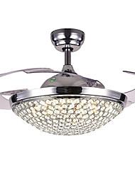 abordables -QINGMING® Ventilateur de plafond Lumière d'ambiance Plaqué Métal Cristal, Tricolore 220-240V Blanc chaud + blanc