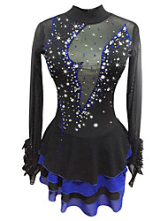 cheap -Figure Skating Dress Women's Girls' Ice Skating Dress Black Spandex Stretchy Competition Skating Wear Sequin Long Sleeve Figure Skating