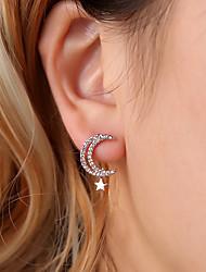 cheap -Women's Cubic Zirconia Stud Earrings Hollow Moon Star Ladies Luxury Romantic Fashion Elegant Rhinestone Earrings Jewelry Gold / Silver For Gift Daily 1 Pair