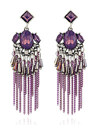 cheap -Women's Amethyst Drop Earrings Long Link / Chain Ladies European Ethnic Rhinestone Silver Plated Austria Crystal Earrings Jewelry Purple / Light Gold For Going out 1 Pair