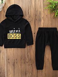 cheap -Kids Toddler Boys' Active Basic Daily Sports Print Print Long Sleeve Regular Cotton Clothing Set Black