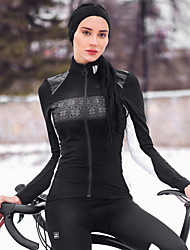 cheap -SANTIC Women's Cycling Jacket Bike Winter Jacket Windproof Sports Solid Color Elastane Winter Black Mountain Bike MTB Road Bike Cycling Clothing Apparel Advanced Relaxed Fit Bike Wear / Stretchy