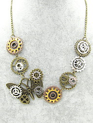 cheap -Women's Statement Necklace Hollow Out Butterfly Gear Ladies Vintage Steampunk Kinetic Alloy Bronze 56+5 cm Necklace Jewelry 1pc For Carnival Professional