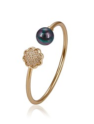 cheap -Women's Black Freshwater Pearl Cuff Bracelet Classic Flower Shape Ladies Cute 18K Gold Plated Bracelet Jewelry Gold For Gift Daily