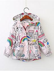 cheap -Baby Girls' Basic Daily Geometric Long Sleeve Regular Cotton Jacket & Coat Rainbow / Toddler