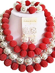 cheap -Women's Beaded Necklace Layered Ladies Fashion Earrings Jewelry Purple / Red / Hot Pink For Party Evening Party