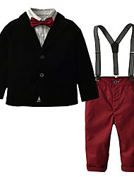 cheap -Kids Toddler Boys' Active Basic Party Daily Solid Colored Striped Plaid Lace up Long Sleeve Regular Regular Cotton Clothing Set Wine