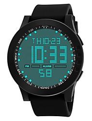 Недорогие -Муж. Спортивные часы электронные часы Японский Цифровой Крупногабаритные Стеганная ПУ кожа Черный / Синий / Зеленый 30 m Защита от влаги Календарь Секундомер Цифровой Блестящие Кольцеобразный -