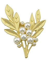cheap -Women's Pearl Brooches Tropical Leaf Ladies Simple Basic Pearl Brooch Jewelry Golden For Date Work